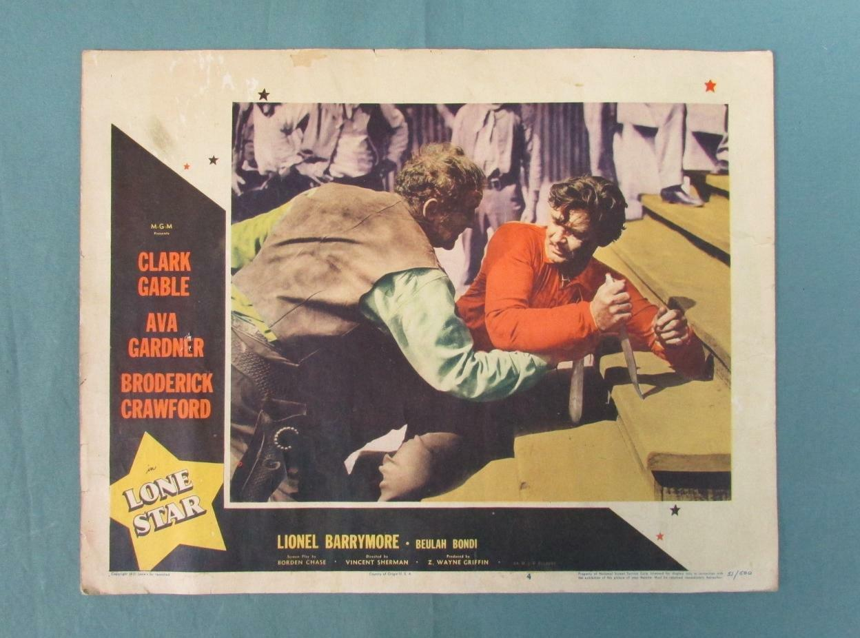 Vintage 1951 Lone Star Movie Lobby Karte + Group Of 4 Western Film Ad Kataloge