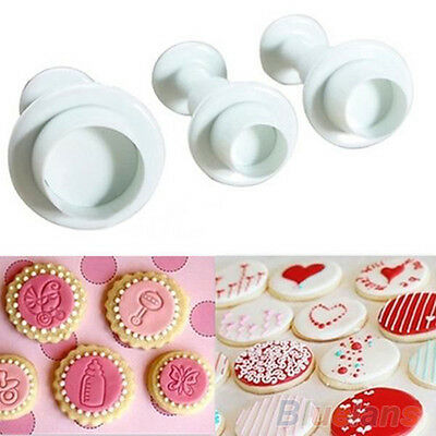 3Pcs Round Circle Fondant Cake Paste Plunger Cutter Decorating Mold Mould BC4U
