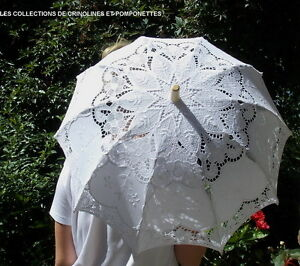 Ombrelle Brodee De Medaillons Incrustes Dans De La Guipure Blanche 96 Cm Renforcement Des Nerfs Et Des Os