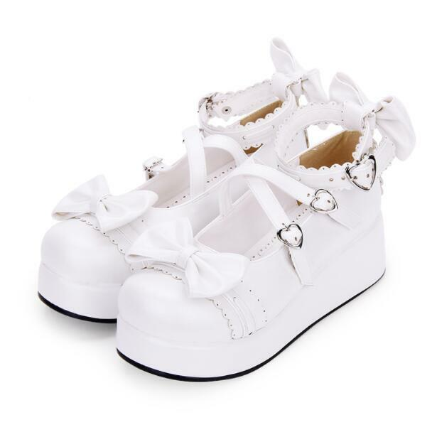 donna Cute Bowknot Lolita Mary Jane Ankle Strap Cosplay Platform scarpe Plus Sz