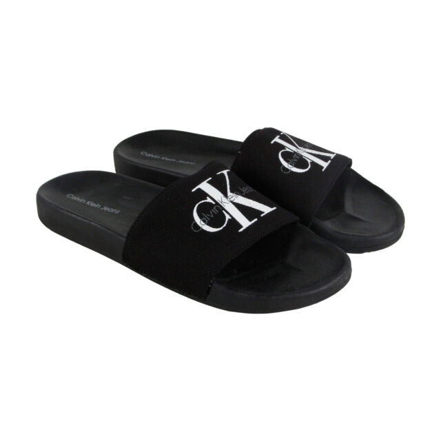 Calvin Klein Viggo Mens Black Canvas Flip Flops Slip On Sandals Shoes