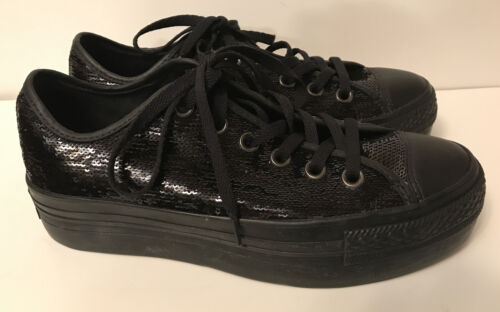 Converse All Star Black Sequin Platform Sneakers 5