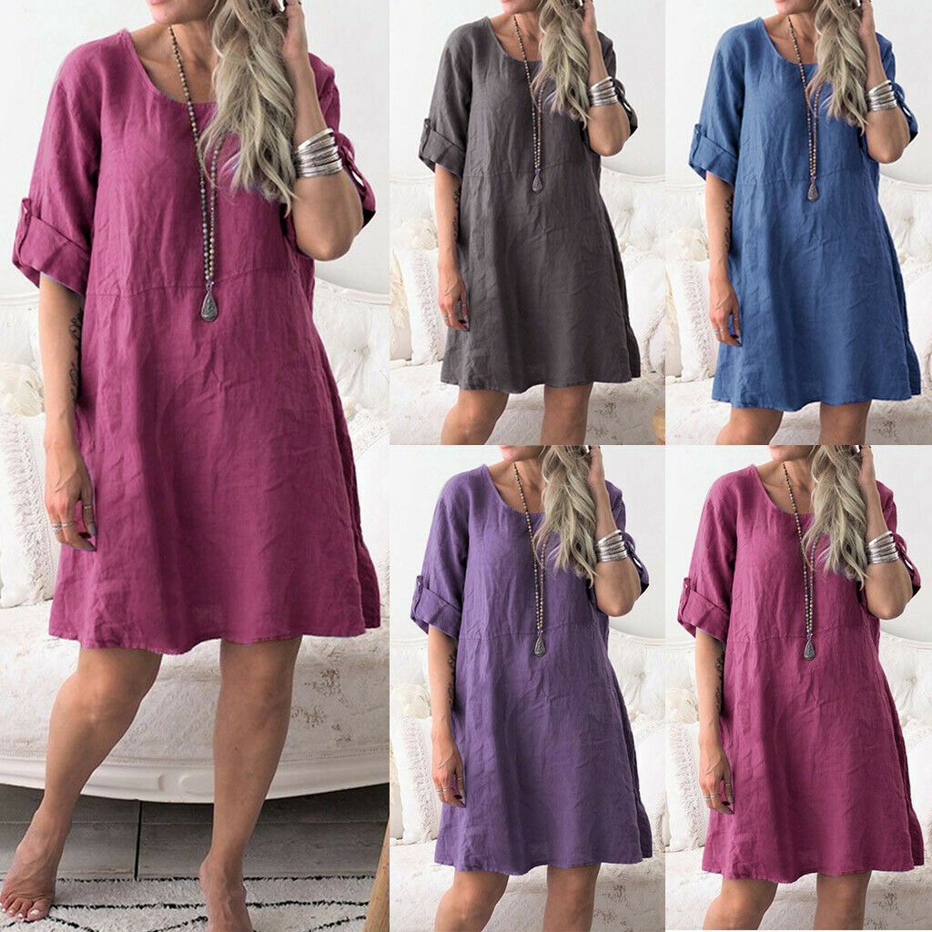 Fashion Women's Cotton Linen Summer O Neck Half Sleeve Solid Loose Casual Dress