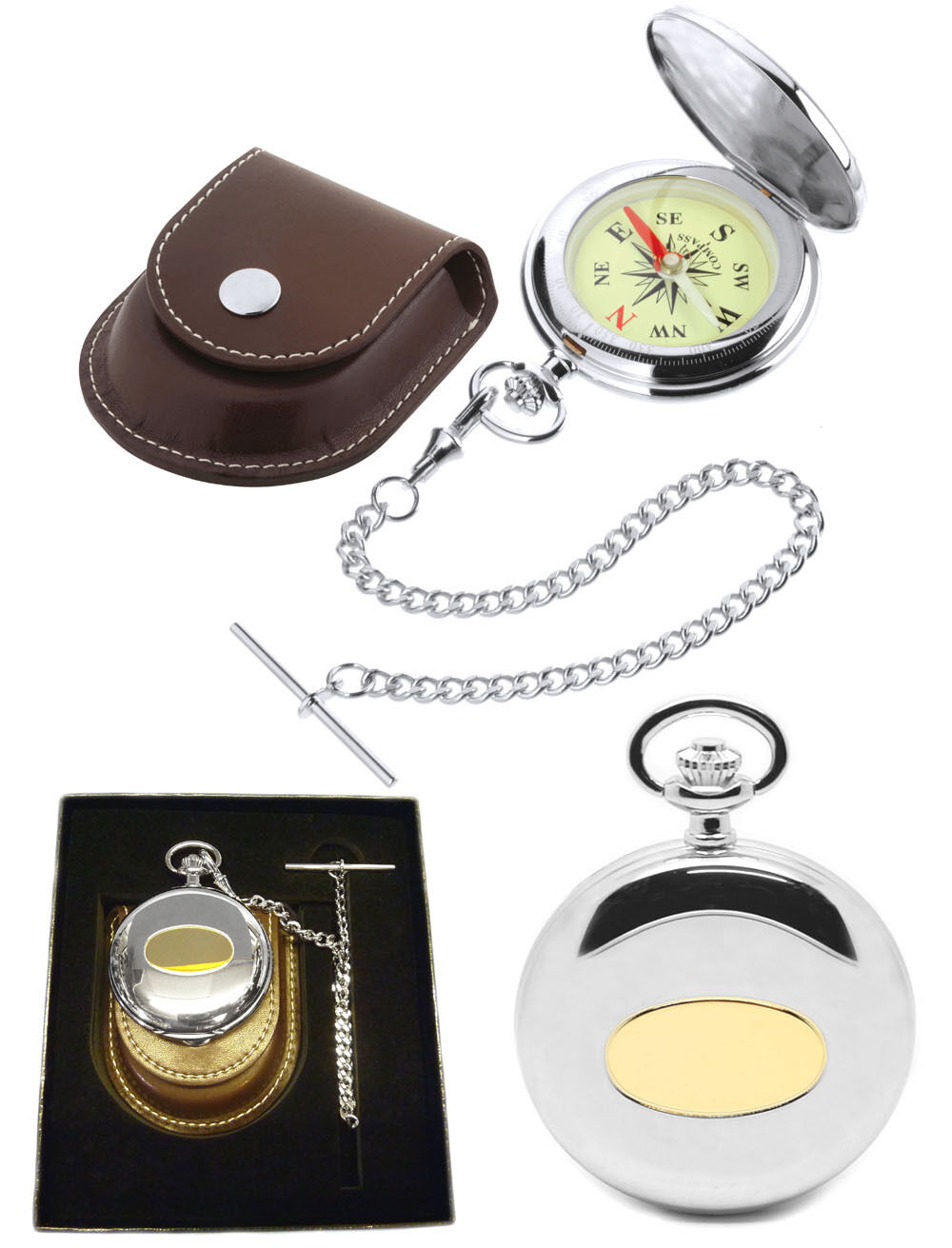 Jean Pierre Pocket Compass and Pouch with Free Engraving (D5)