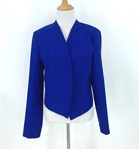 Michel Blazer Women's Size L Michelle Royal Blue Open Front Career Casual Jacket