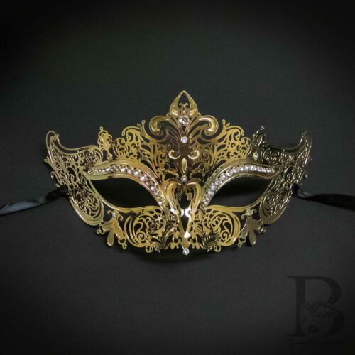 Masquerade Mask for Couples Gold Luxury Venetian Couples Masks W7344 M7110