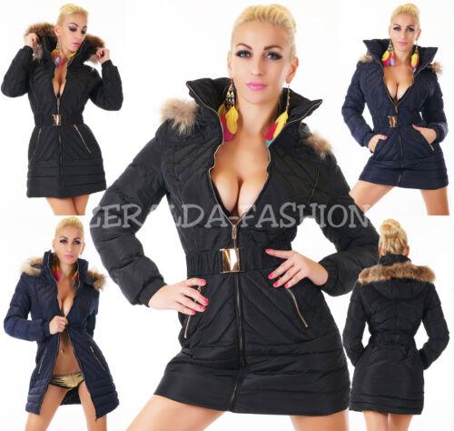 Sexy donna Pelliccia sintetica lunga Cappotto Cintura invernale XL Wow blu Nero S trapuntato RqnggwICE