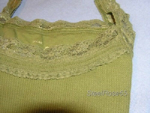 NEW Aeropostale Junior Girls Green Thermal Babydoll Lace Tank Top S Small