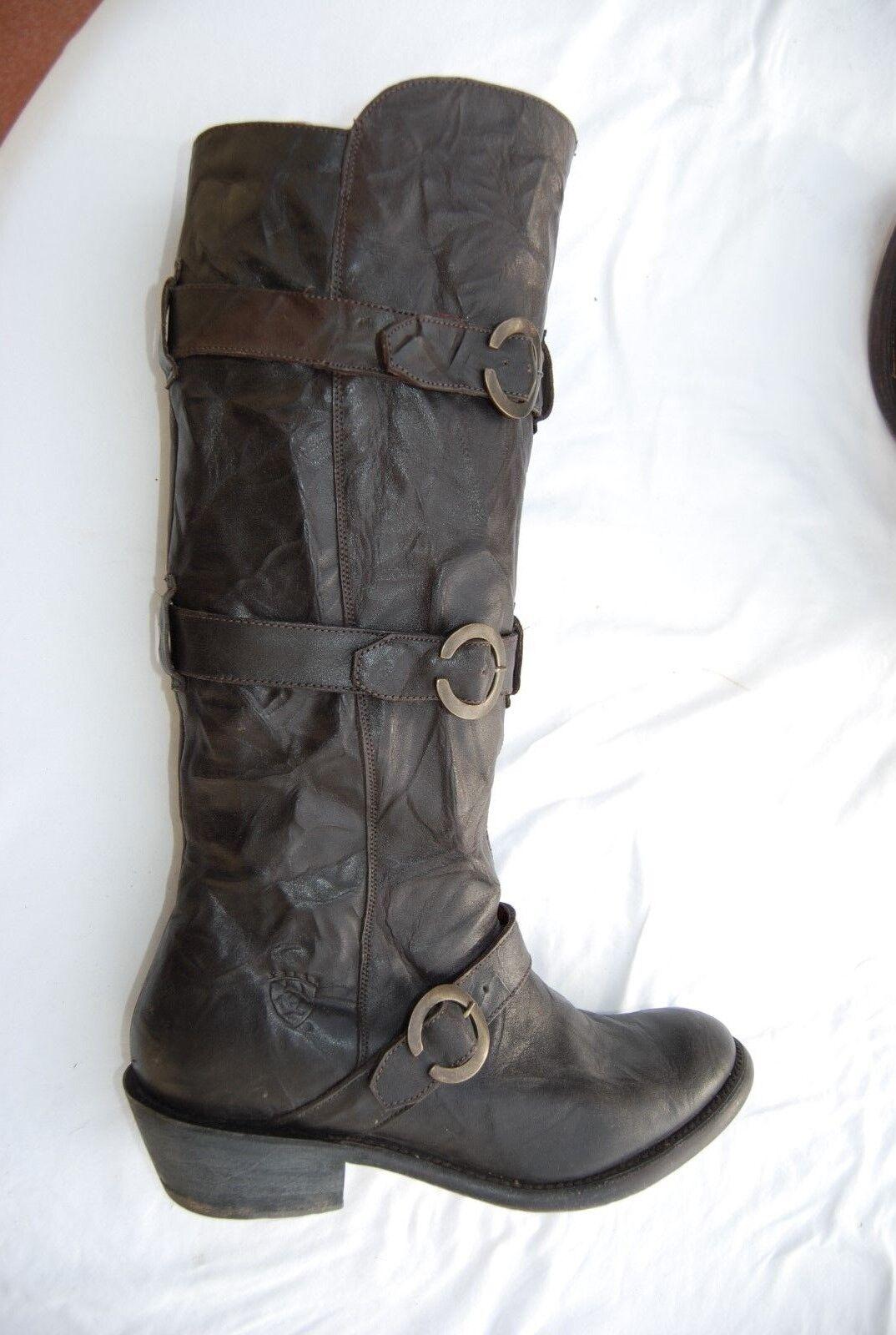 Dark Braun Distressed Leder ARIAT Side Zip Tall Stiefel w/Straps 9 B