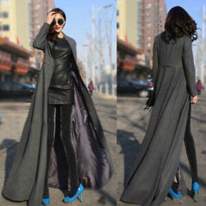 Womens Long Sleeve Maxi Dress Coat Floor Length Coat Plus Size Long ...