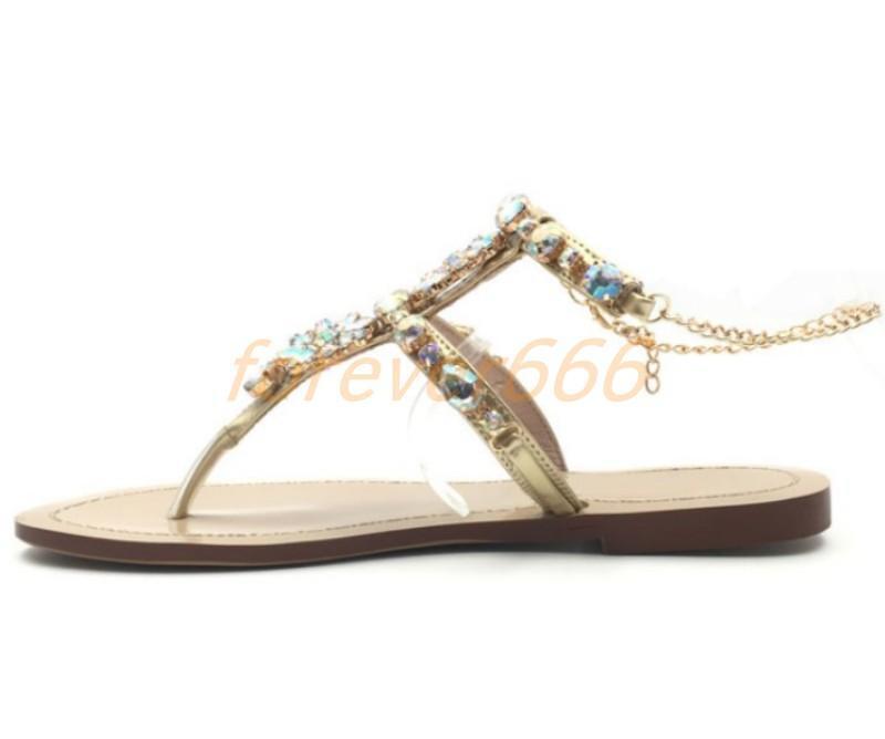 Strass Neu Flip Flop Damen Stand Schuhe Schuhe Schuhe Flach Absatz Strap Sandalen gr.33-46/47 f1dc18