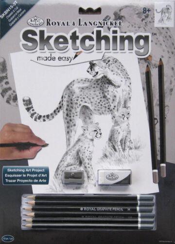 28,5 cm x 22 cm Geparden Malen mit Bleistiften Skizzieren