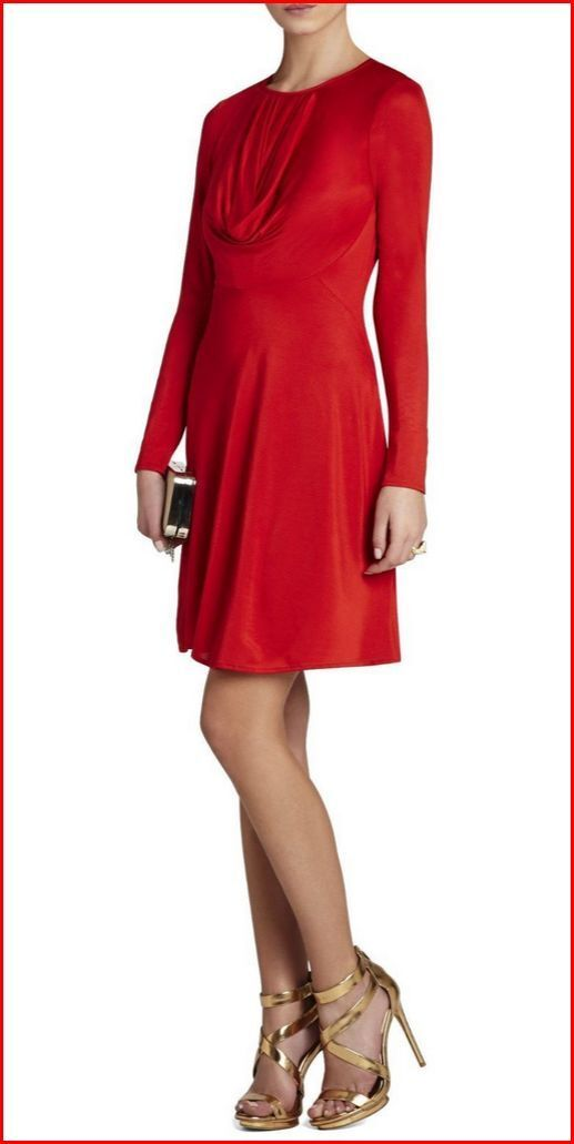 BCBG MAXAZRIA SAM CURRY rot LONG SLEEVES JERSEY DRESS Größe S NWT  -RackA 88