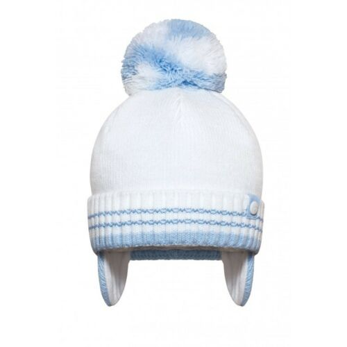 WHITE BEIGE NEWBORN AW20 NEW KINDER BOUTIQUE BOYS POM HAT BLUE 18 MONTH