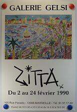 ZITTA expose Galerie Gelsi à Marseille AFFICHE ORIGINALE/13PB