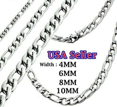 "316L Stainless Steel Necklace Figaro Links Chain USA Seller 18""-36"" Chrome"