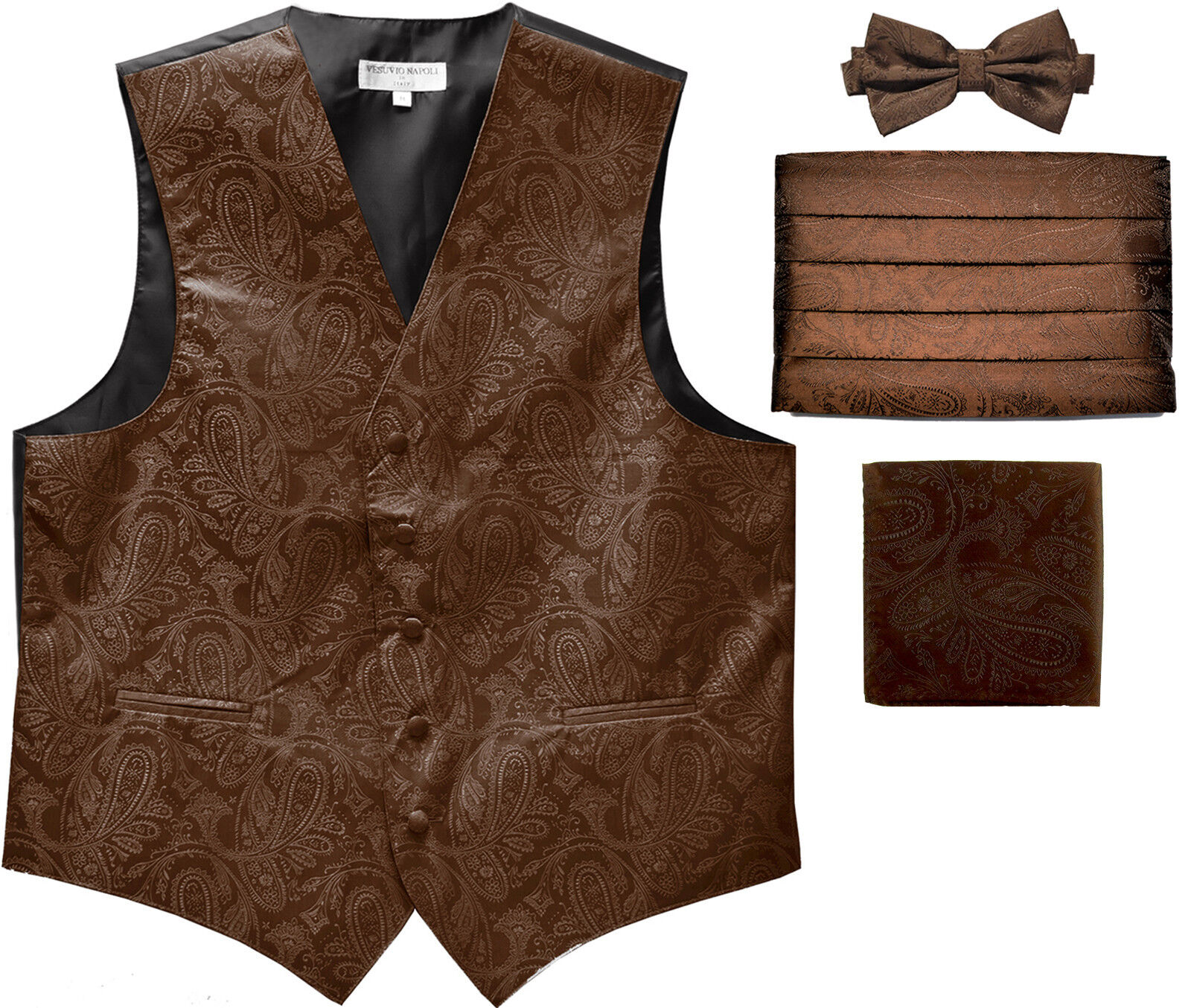 New Men's Paisley Tuxedo Vest Waistcoat & Cummerbund & Bow tie & Hankie Brown