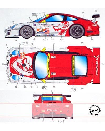 ST27 PORSCHE 911 GT3 FLYING LIZARD DECAL f FUJIMI 1 24