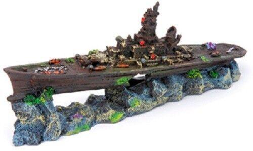 Sunken Battleship Aquarium Decoration Resin Ornament Penn Plax Fish Tank Small