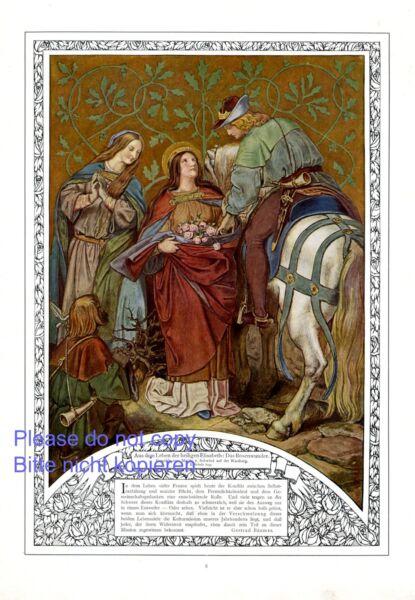 Die Heilige Elisabeth Xl Kunstdruck 1910 Von Moritz Von Schwing Rosenwunder +
