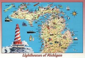 Lighthouses Of Michigan Great Lakes Ships Etc State Map