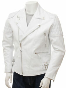 New-Men-Soft-Lambskin-White-Motorcycle-Biker-Leather-Jacket-Cafe-Racer-Vest-755