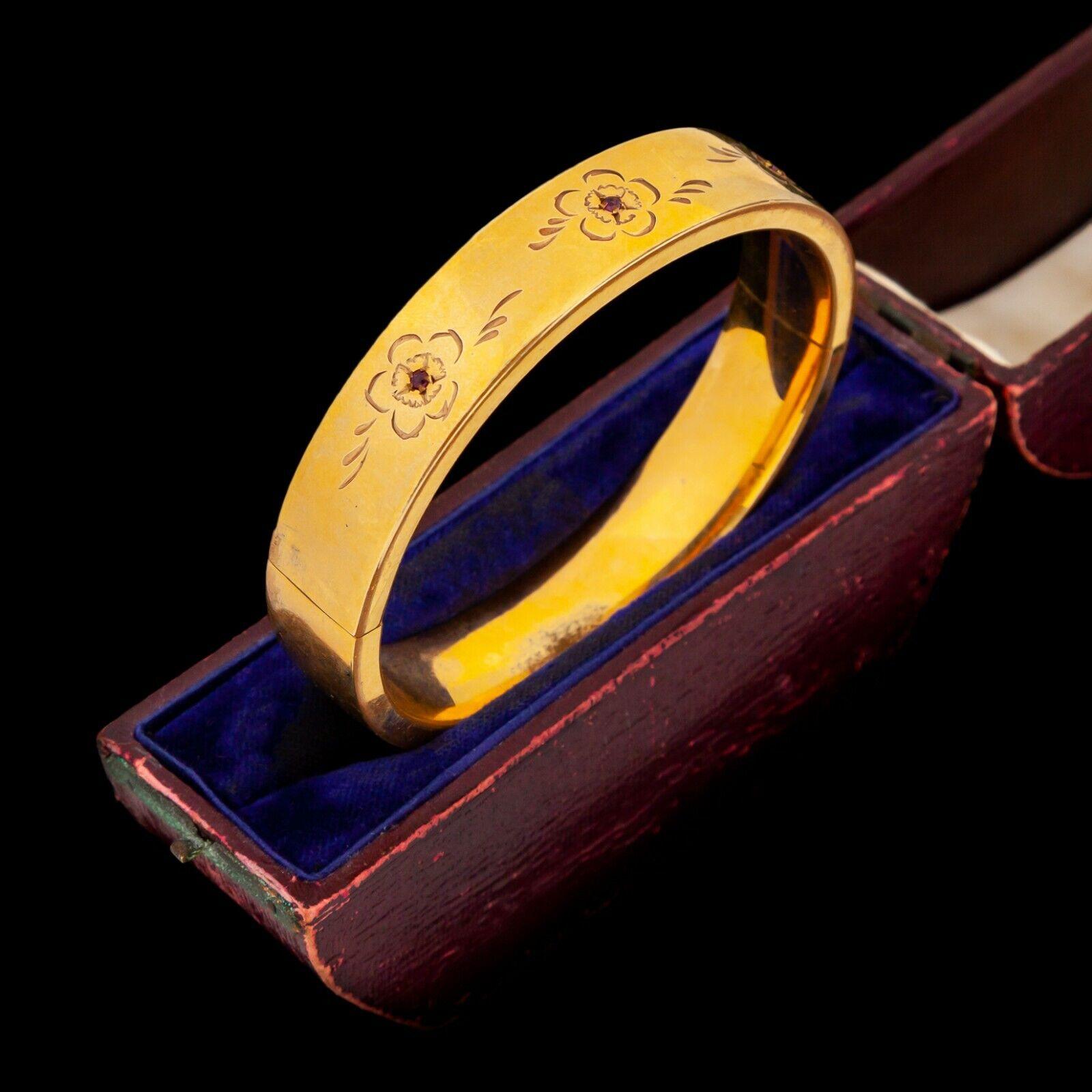 Antico Vintage Nouveau 12k 12k 12k oro Filled Giallo Gf Rubino Matrimonio 2b3b4e