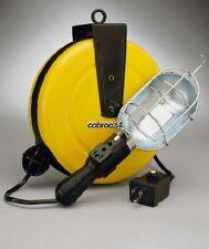 ALERT 50FT Incandescent Metal Retract Cord Reel Work Light w/ Circuit Breaker
