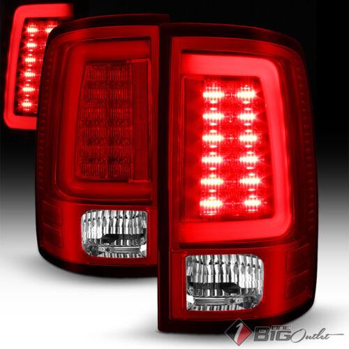 For 10-18 RAM Red Clear LED Tail Lights w// Fiber-Optic-Light Tube Signal