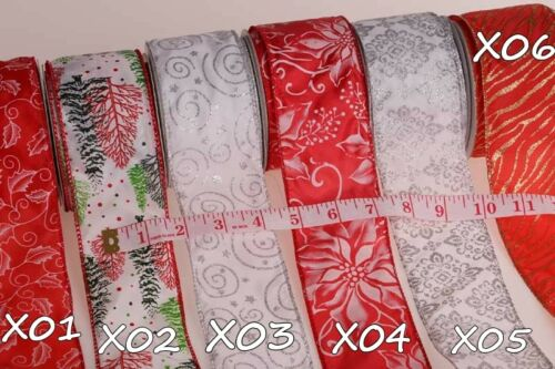 """Green and White Christmas Wired Edge Ribbon 2.5/""""// 63mm Luxury Red"""