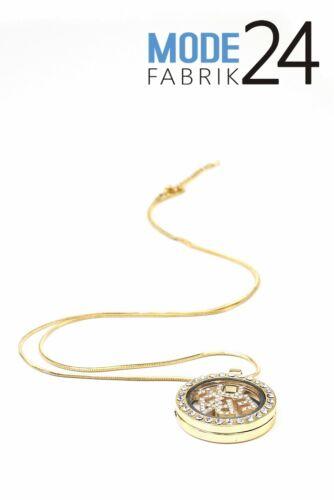 Damen Halskette Medallion Peace Hals Strass Glitzer Elements Silber Gold Kette