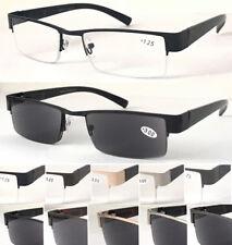 R401 Men' Semi-Rimless Reading Glasses Or 100%UV Reading Sunglasses/Spring Hinge