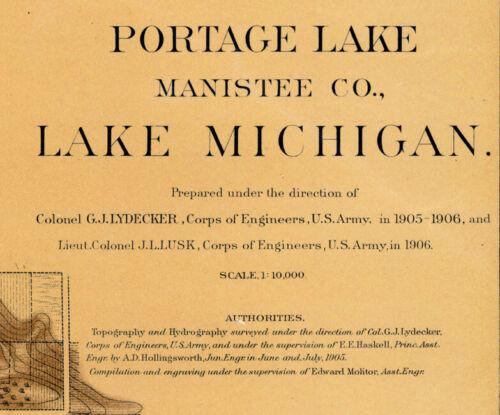 1906 Nautical Map of Portage Lake Manistee County Michigan Onekama