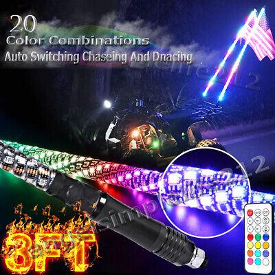 2ft Lighted Spiral LED Whip Antenna w//Flag /& Remote for ATV Polaris RZR UTV SXS