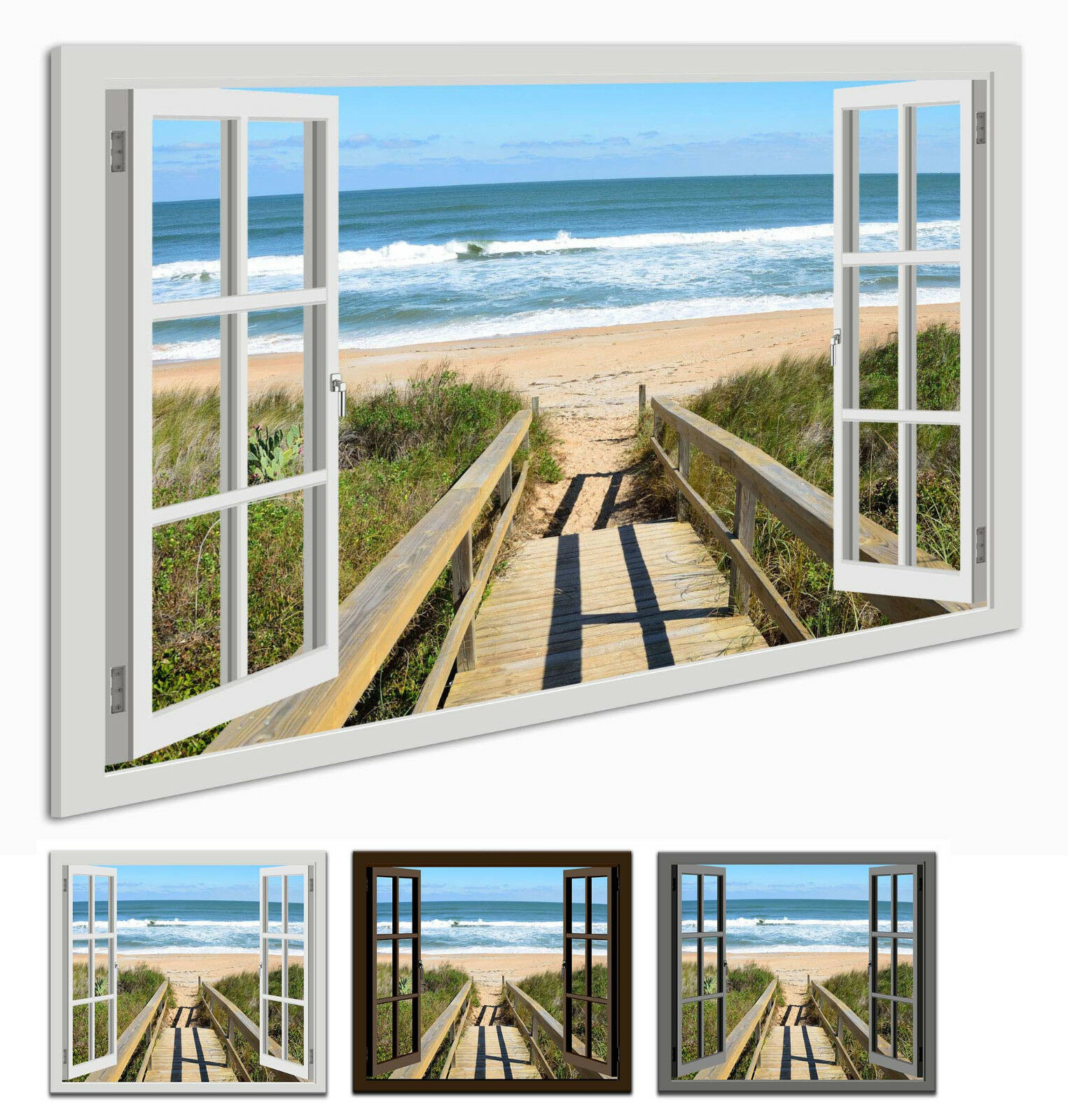 Toile podium la fresque Fenêtre Vue Plage podium Toile Holzsteg Océan Paysage 84858b