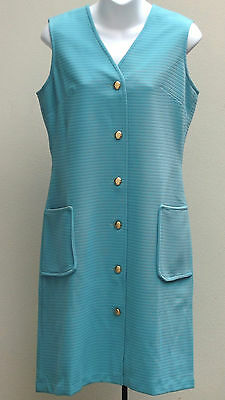 Vintage 1960s dress Size 12 UNUSED crimped polyester Caprice SHOP SOILED blue