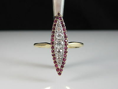 Antique Old European Mine Cut Diamond Ruby Ring Art Deco Marquise Estate Vintage