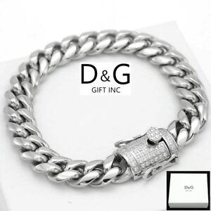 "DG Men/'s 8.5/"" Stainless Steel Silver CZ 14mm Miami Cuban Bracelet*Unisex Box"