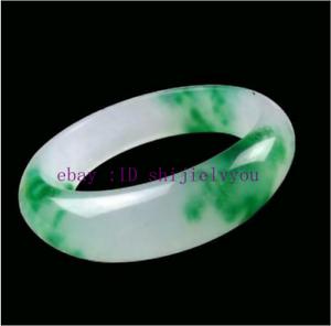 NATURE BEAUTIFUL GREEN WHITE JADE JADEITE BRACELET BANGLE 56MM---62MM