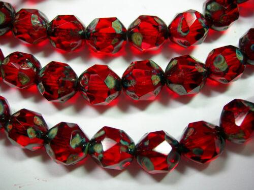 15 9mm Ruby Red Travertine Firepolished Thru Cuts Czech Glass Beads