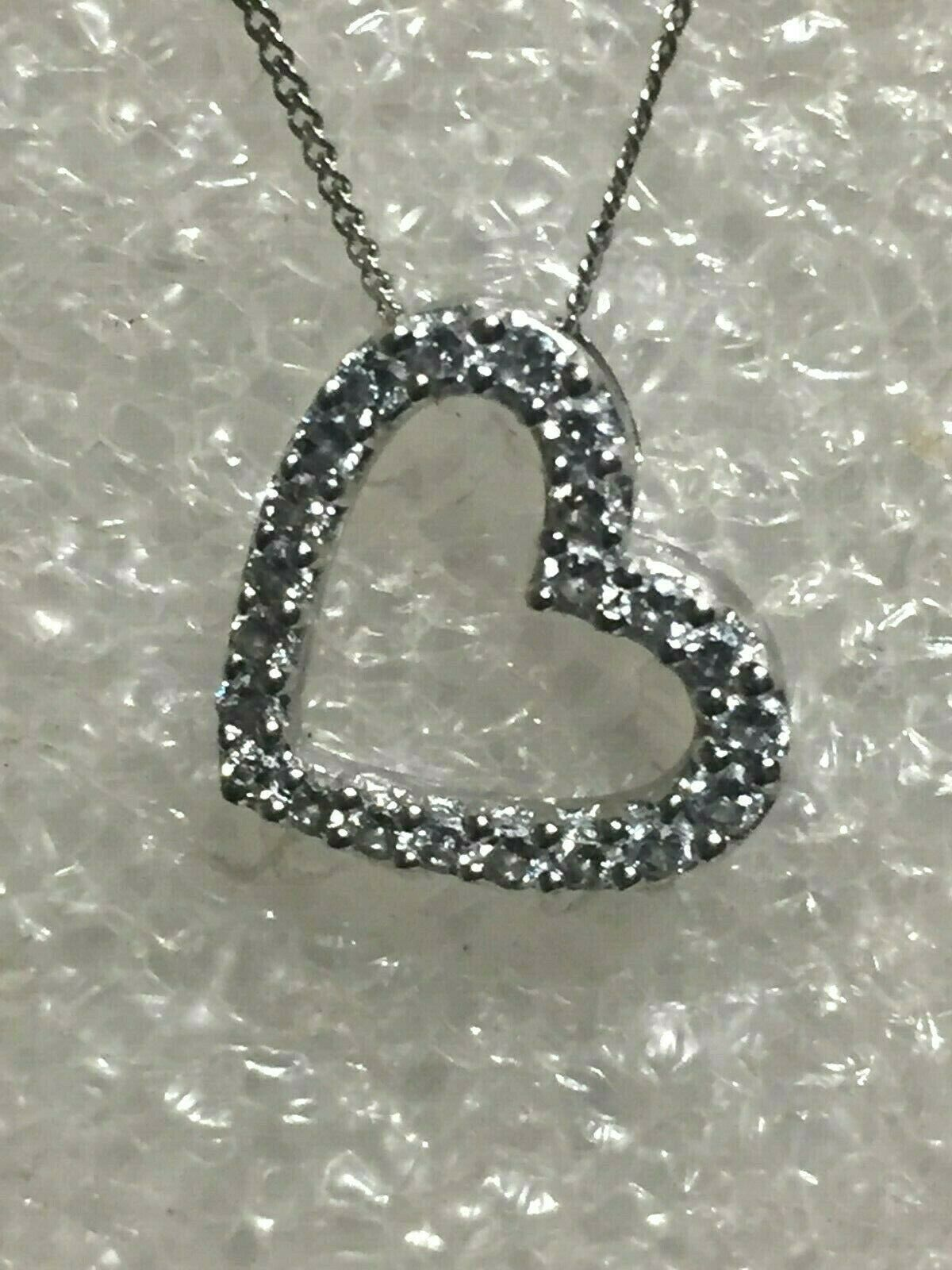 9 ct gold nice  detailed heart & chain 18 inch  pre owned