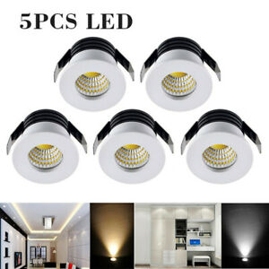 5x LED Recessed Small Cabinet 3w Spot Lamp Ceiling Downlight Kit Fixture White