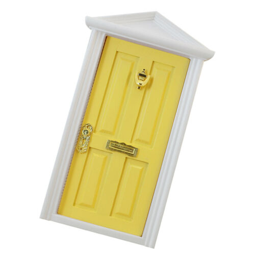 MagiDeal 1//12 Doll House Miniature Yellow Wooden 4-Panel Inwardly Open Door