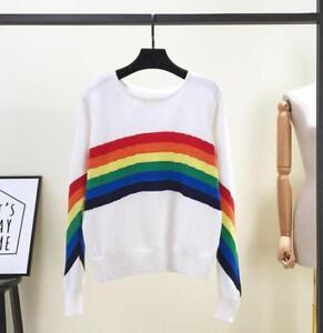 New Womens Long Sleeve Tops Sweater Rainbow Strip Knitwear Pullover Jumper Loose