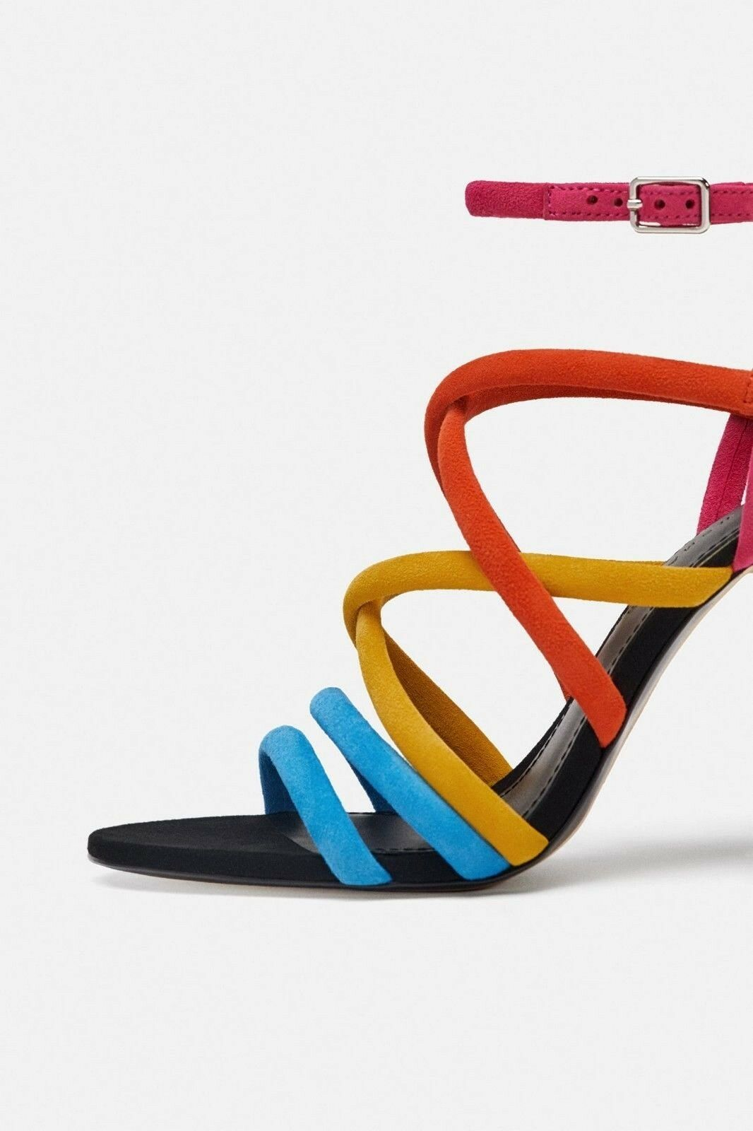 ZARA HIGH HEEL SUEDE LEATHER SANDALS WITH COLOURFUL STRAPS SIZE UK 3 EU 36 USA 6