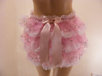 SISSY ADULT BABY PINK SATIN SEQUIN ORGANZA DIAPER COVER PANTIE WATERPROOF OPTION