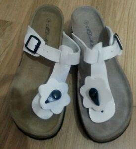 1858d684d8 Dettagli su lotto 728 scarpe sandali infradito bianco donna n.39
