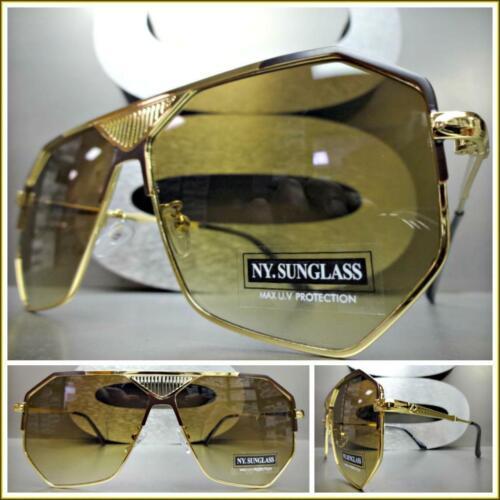 OVERSIZE Classic Retro Style LUXURY DESIGNER Fashion SUNGLASSES Large Gold Frame