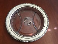 """VINTAGE WALLACE STERLING SILVER & ETCHED GLASS DIVIDED TRAY DISH 10 3/4"""" D."""