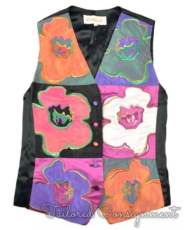 ICEBERG colorful Geometric Floral Vintage VTG Luxury Mens Vest - XS